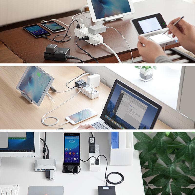 サンワダイレクト USB充電ポート付 電源タップ 700-TAP018 700-TAP019 700-TAP020